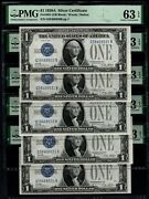 Lot Of Five Consecutive 1928a 1 Silver Certificates All Pmg 63 Epq Fr.1601