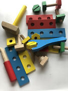 Vtg Wooden Wrench Scredriver Tools Take Apart Toy