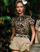 Dolce And Gabbana Top Charmeuse With Leopard Print 1,195 Nwt It 46