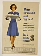 Original World War Ii Poster - Women Our Wounded Need Your Care - Us Army Corps