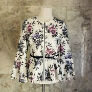 Bagatelle White Purple Blue Floral Perforated Zip Up Bell Sleeve Jacket
