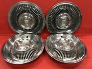 Vintage Set Of 4 1963andndash64 Cadillac 15andrdquo Hubcaps Deville Fleetwood Good Condition