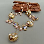 White Keshi Pearl Pink Pearl Purple Murano Glass Chain Pearl Y-drop Necklace