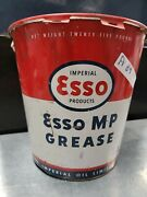 Vintage 25 Lb Esso Multi Purpose Grease Oil Can Gas Service Station Advertising