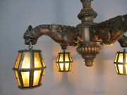Gothic Dragon Heads 4 Arms Wood Chandelier Lamp Art Deco Glass Shades French