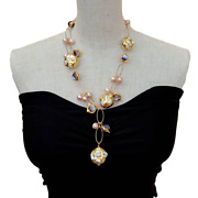 Purple Murano Glass White Keshi Pearl Pink Pearl Chain Pearl Y-drop Necklace
