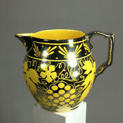 Lustreware Siver And Yellow Grape Leaves England, Pitcher Staffordshire Antique