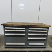 Wood Top 9 Drawer Small Parts Storage Work Station Bench 30dx64wx35h