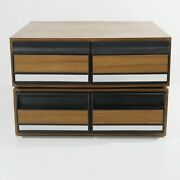 2 Vintage Vhs Tape Storage Cabinets Wood Grain Box Hold 12 Each