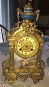 Antique French Brass And Porcelain Mantle Clock For Parts