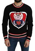 Dolce And Gabbana Sweater Black Cashmere Pig Of The Year Pullover It48/us38/m