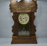 New Haven Antique Kitchen Mantel Shelf Clock 8 Day Gingerbread With Key Works