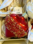 New 15 German Glass Christmas Bells Candles Finials Ornaments Red W/gold Glitter