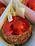 New Lot Of 12 German Glass Christmas Balls Ornaments Red And Gold Beads 4 And 5