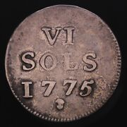 Luxembourg 6 Sols 1775 Brussels Mint Maria Theresa Rule. Rare Silver Coin