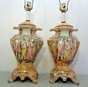 2 Vintage Ef And Ef Mid Century Oriental Asian Table Lamps Figural Pair Nice