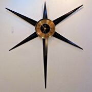 Vintage Mid Century Modern 32 Welby Starburst Wall Clock New Clock Works 1960and039s
