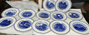 12 Crown Ducal Plates George Washington Bicentenary Blue White Plate Set 10 1/2andrdquo