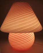 Vintage Vetri Murano Swirled Pink Glass Mushroom Table Lamp With Label - Perfect