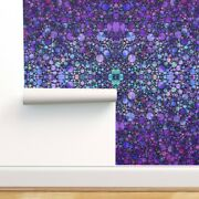 Removable Water-activated Wallpaper Purple Circles Shapes Black Geometric