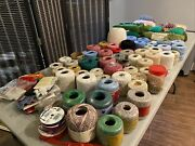 Vintage Lot 100+ Items Mixed Yarn Thread Crafting Sewing Needle Pointe