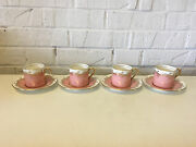 Vintage Antique Aynsley Set Of 4 Cups And Saucers W/ Pink And Gold Decoration