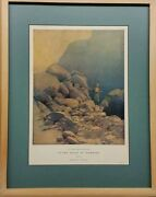 Maxfield Parrish Rare Vintage 1907 Print The Valley Of Diamonds In Antique Frame
