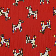 Drakeand039s Mens Rust Ivory Brown Dogs Handmade Silk Tie England Nwt