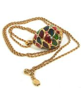 Vintage Joan Rivers Multi-color Crystal And Rhinestone Egg Long Necklace