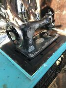Singer Vintage Antique Sewing Machine In Table With A Period Correct Cabinet