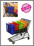 Eco Friendly 4 Set Reusable Shopping Cart Bags And Grocery Organizer