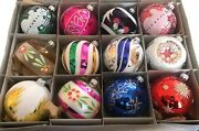 Lot 12 Czech Blown Glass Hand Painted Christmas Tree Ornaments Decorations
