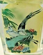 Antique Set Of 4 Chinese Snuff Bottles Crystal Glass Inside Painted Birds Box