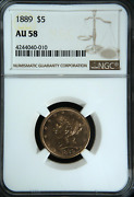 1889 Ngc Au58 Mintage 7520 - 2nd Lowest 1878 To Date Underpriced 5 Half Eagle