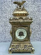 Antique French Mantle Clock Samuel Marti Bronze Gilt