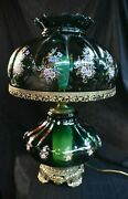 Antique Vintage Emerald Green Hurricane Gone With The Wind Lamp