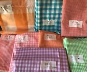 Vintage Gingham Fabric Cotton Lot Of 8 Pieces Approximately 16 Yards Total