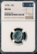 1978 Roosevelt Dime Ngc Mac Ms66 90ft Finest Grade Rare 6000 For A Ft