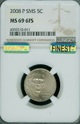 2008-p Jefferson Nickel Ngc Ms69 Fs Sms Mac Finest Grade Pop-3 Extremely Rare