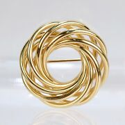 And Co. Retro 14 Karat Gold Love Knot Brooch Or Pin - Wreath Spiral Vr