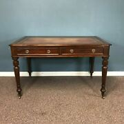 19th Century English Mahogany 2 Drawer Leather Top Library Desk