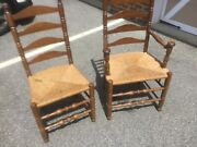 Dining Room Table And 6 Caned Chairs, Two With Arm Rests-