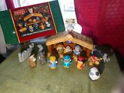 2002 Fisher Price Little People Deluxe Christmas Story Nativity Set Musical 99c
