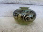 Signed Crackle Art Glass Squat Vase Green With Pulled Feather Design 3 Of 77 6