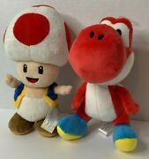 Set Of 2 Toad And Red Yoshi Super Mario Plush Official 8.5 Nintendo