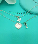 Return To Love And Co. Silver Heart Key Padlock Tag 16-18 Necklace