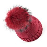 Top Quality Winter Beanies Fur Hats For Girls Knitted Wool Hat 100percentreal...