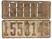 Illinois 1918 Vintage License Plate Pair Slotted Antique Car Set Old Tags Decor