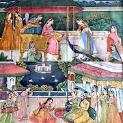 2 X Early 19thc Antique Indian Mughal Mogul Court Scene Miniature Paintings