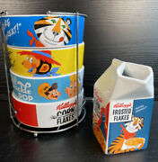 Vintage Style Kelloggs Retro Printing Bowls, Milk Pourer Collection And Stand 2017